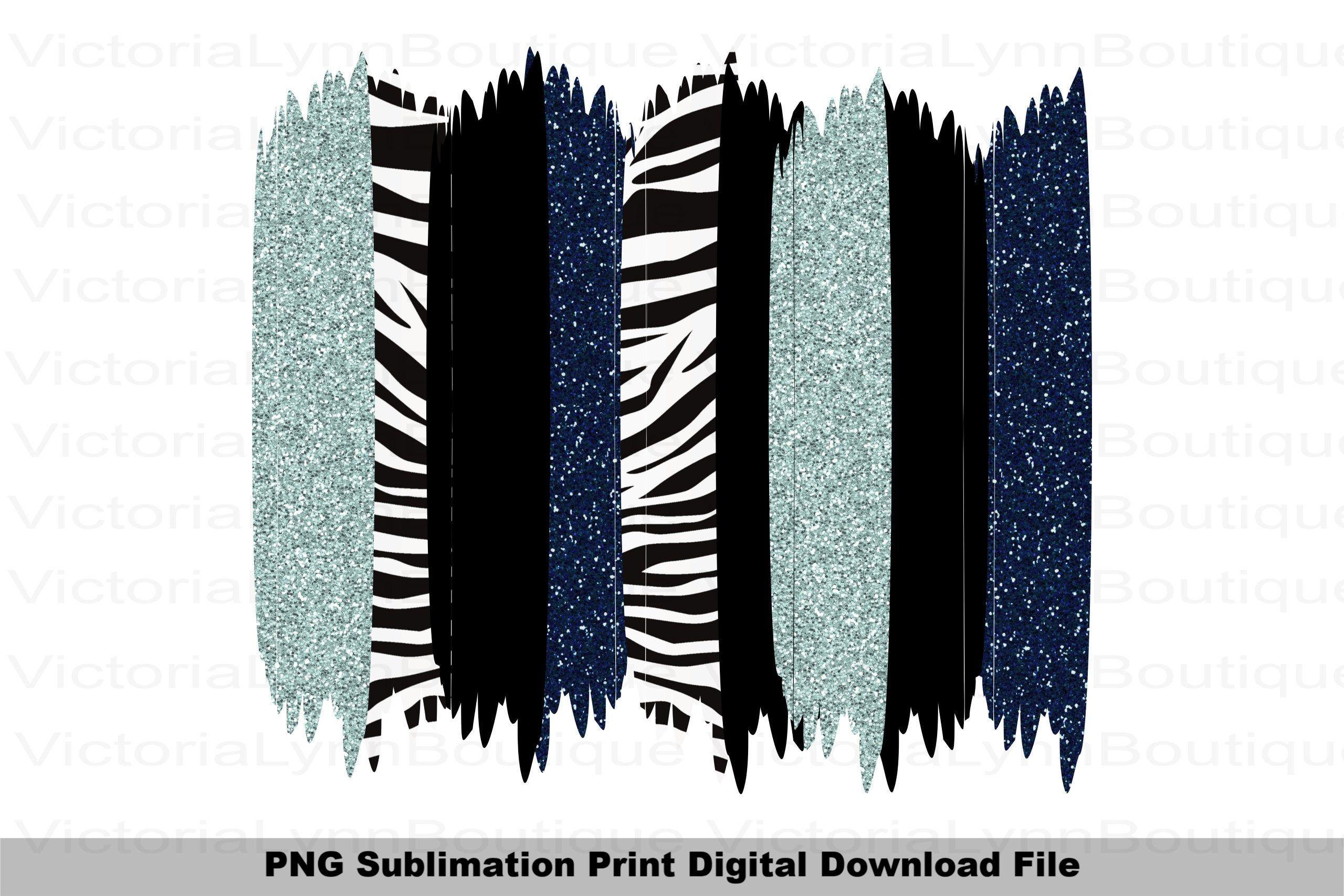 Brushstrokes Blue Glitter and Zebra Print For Sublimation