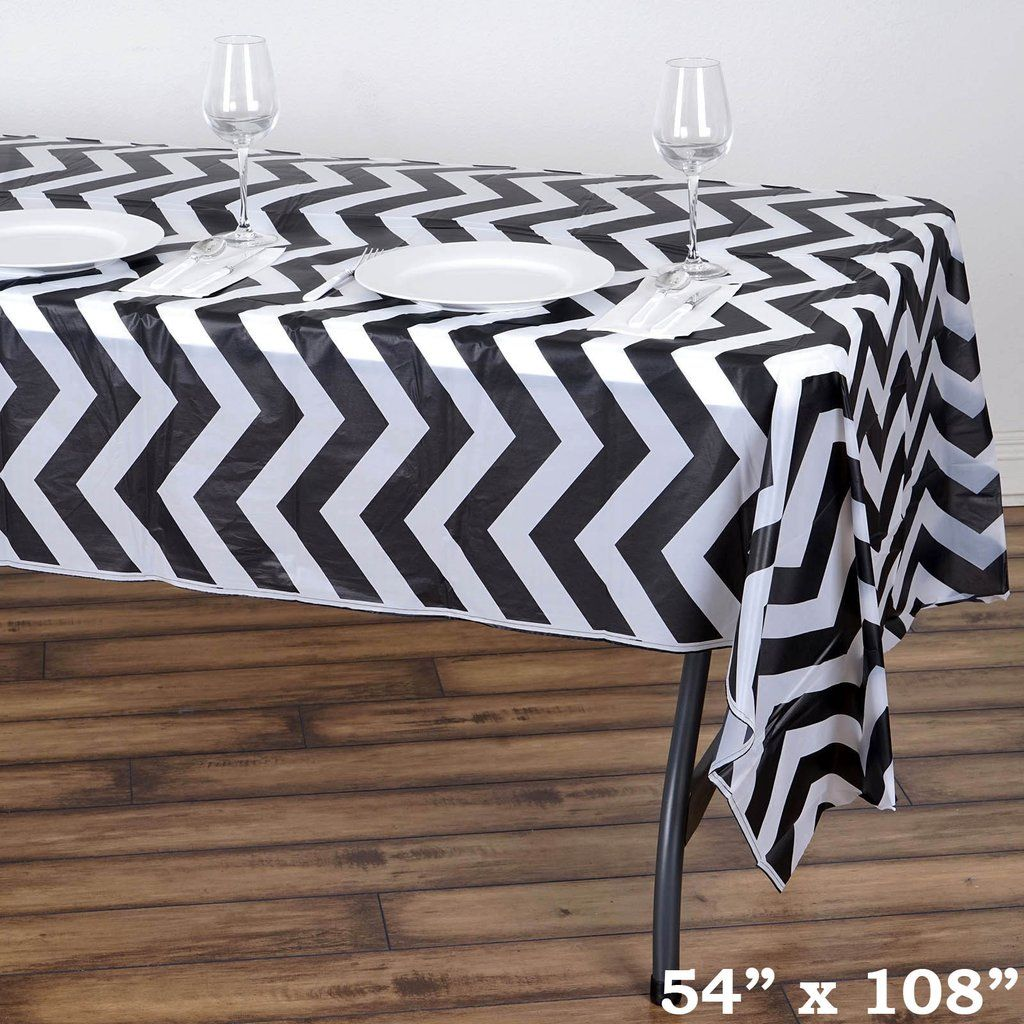 54 X 108 Black 10 Mil Thick Chevron Waterproof Tablecloth Pvc Rectangle Disposable Tablecloth Plastic Table Covers Table Covers Vinyl Tablecloth