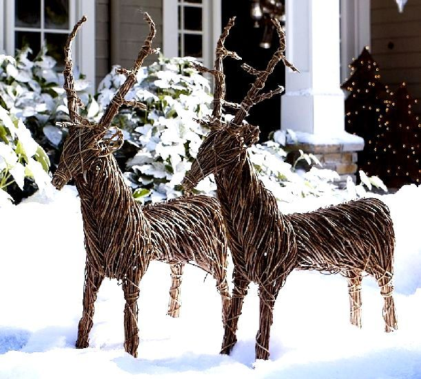 wicker at christmas reindeer decorations outdoor - Christmas Reindeer Decorations