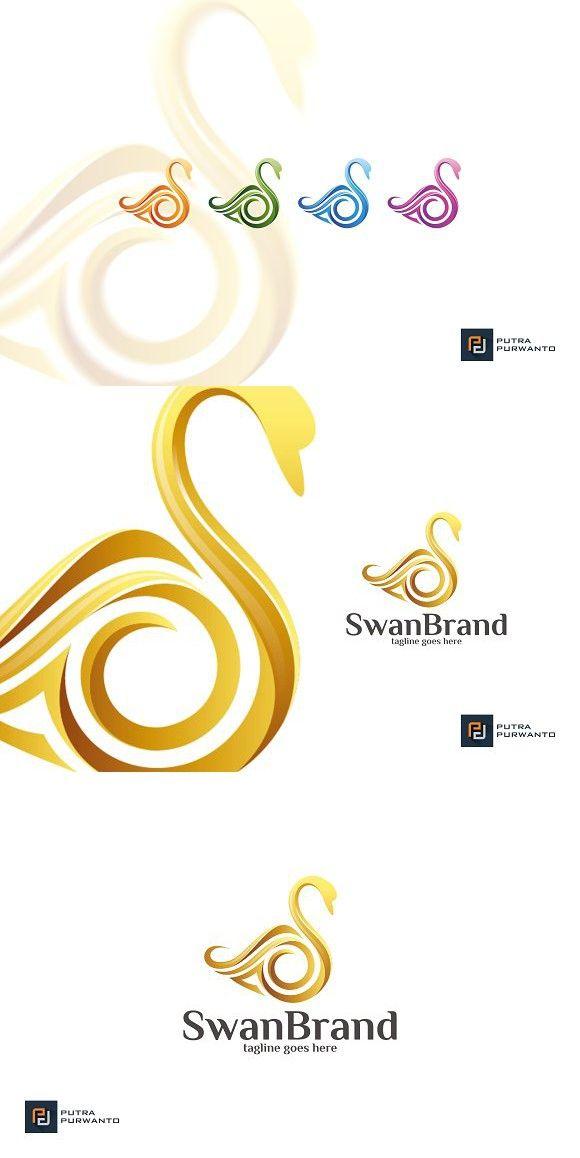 swan brand logo template swirl design pinterest logo