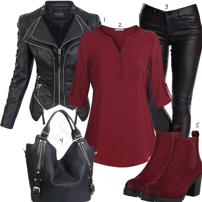 Lässiges Damenoutfit mit Lederhose und Lederjacke