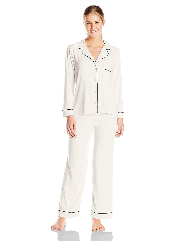 fd92a1f7790 Eberjey Women s Gisele Two-Piece Long Sleeve   Pant Pajama Sleepwear Set at  Amazon Women s Clothing store