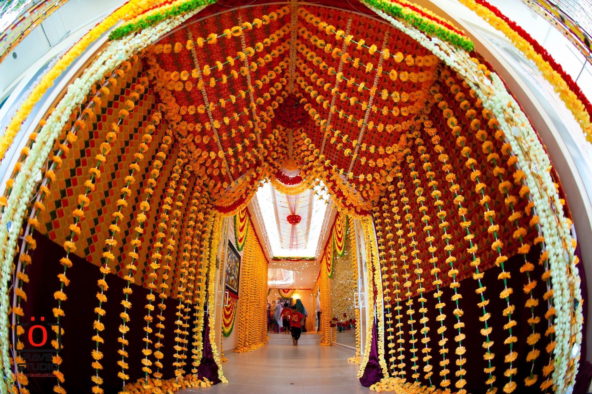 Traditionally decorated entrance to Indian wedding. This
