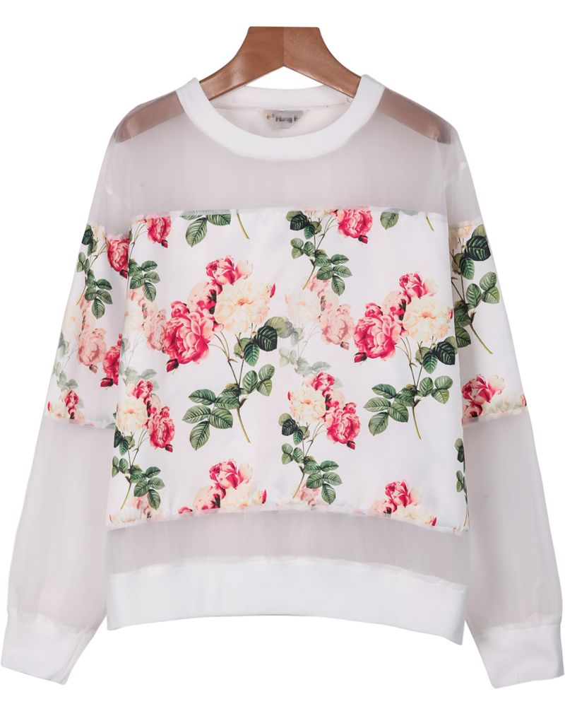 White Long Sleeve Floral Organza Blouse - Sheinside.com