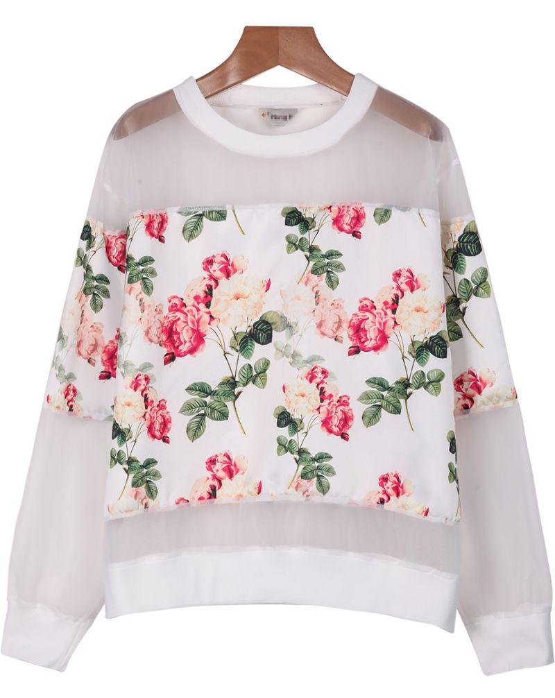 White Long Sleeve Floral Organza Blouse - Sheinside.com