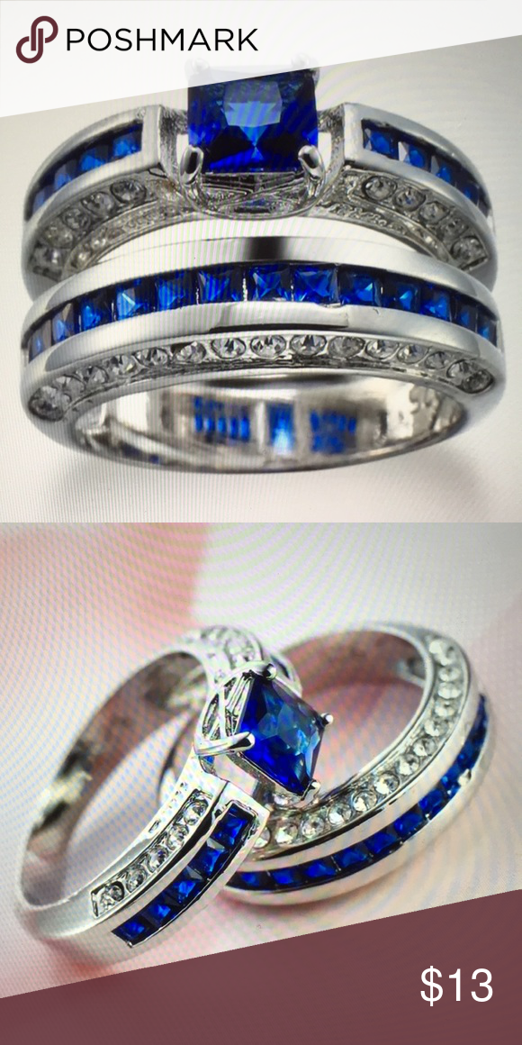 2 Pc 925 Silver Plated Wedding Rings Size 7