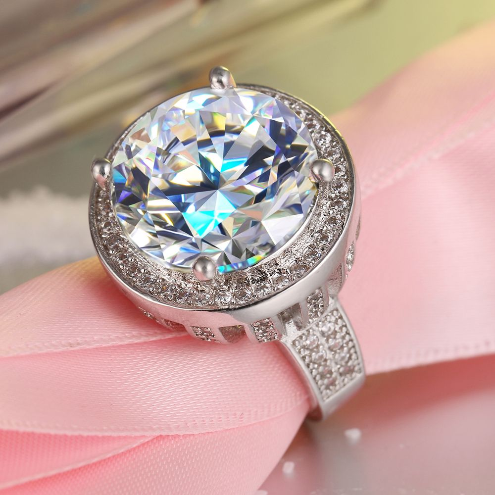 Fashion Luxury Round Shape Cubic Zirconia Ring Rhodium Plated Big ...