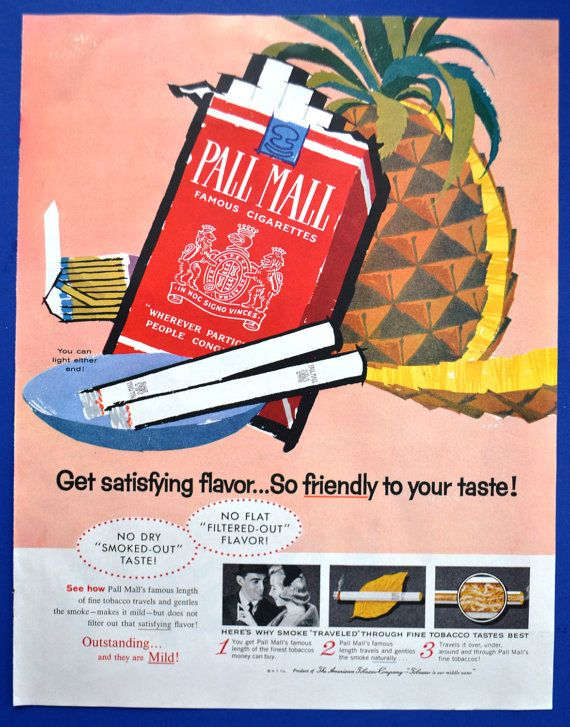 1960 Ad Vintage Pall Mall Mary Blair Art Famous Cigarettes Red Pack - Pineapple