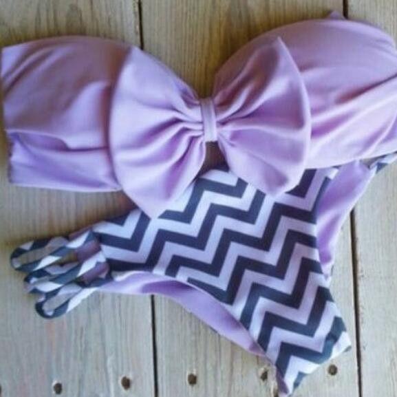 Fashion bowknot striped bikini