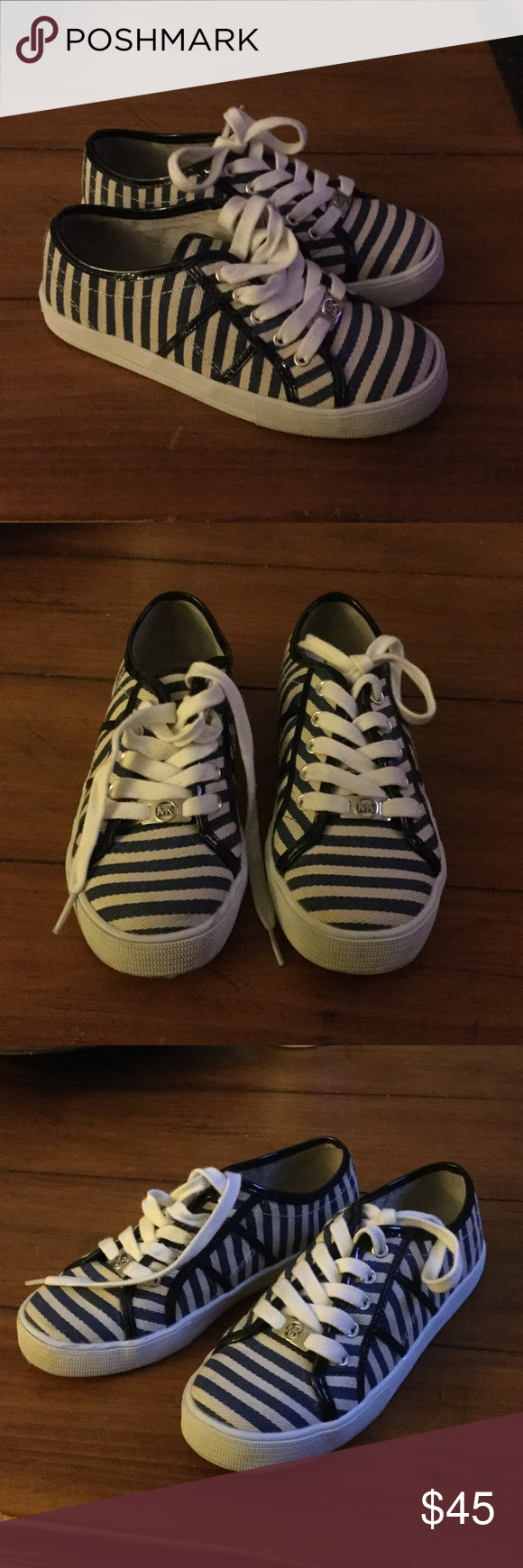 🎉🎊Host pick 🎉🎊Michael Kors sneakers Michael Kors striped sneakers. Girl size 3. Used 1 time only. In excellent condition. White & blue stripes color. Very cute. Don't have the original box. Thank you for looking! Michael Kors Shoes Sneakers