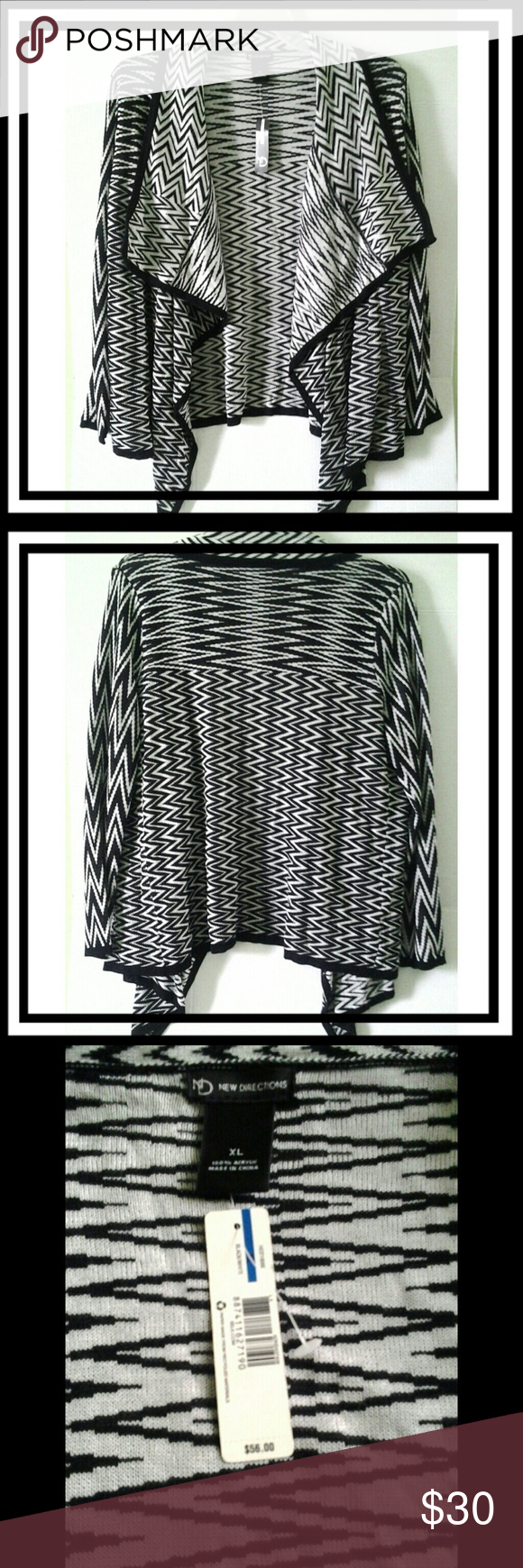 New Directions Cardigan Beautiful black & white, long sleeve cardigan.  Good condition, has never been worn as it fits small. New Directions Sweaters Cardigans