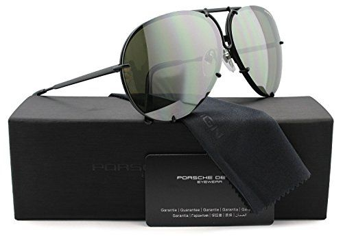 36ba4db1ce Porsche Design P8478 D Aviator Sunglasses Matte Black w Crystal Brown and  Olive Silver Mirror (V656) 8478 66mm Authentic