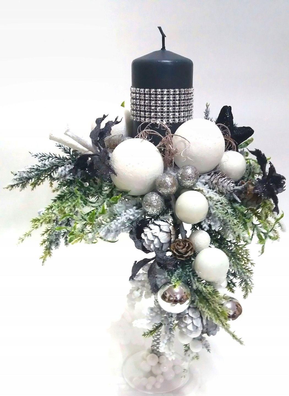 Swiecznik Swiateczny Bozonarodzeniowy Szklo Stroik 5806165293 Allegro Pl Christmas Floral Arrangements Holiday Decor Christmas Christmas Flower Arrangements