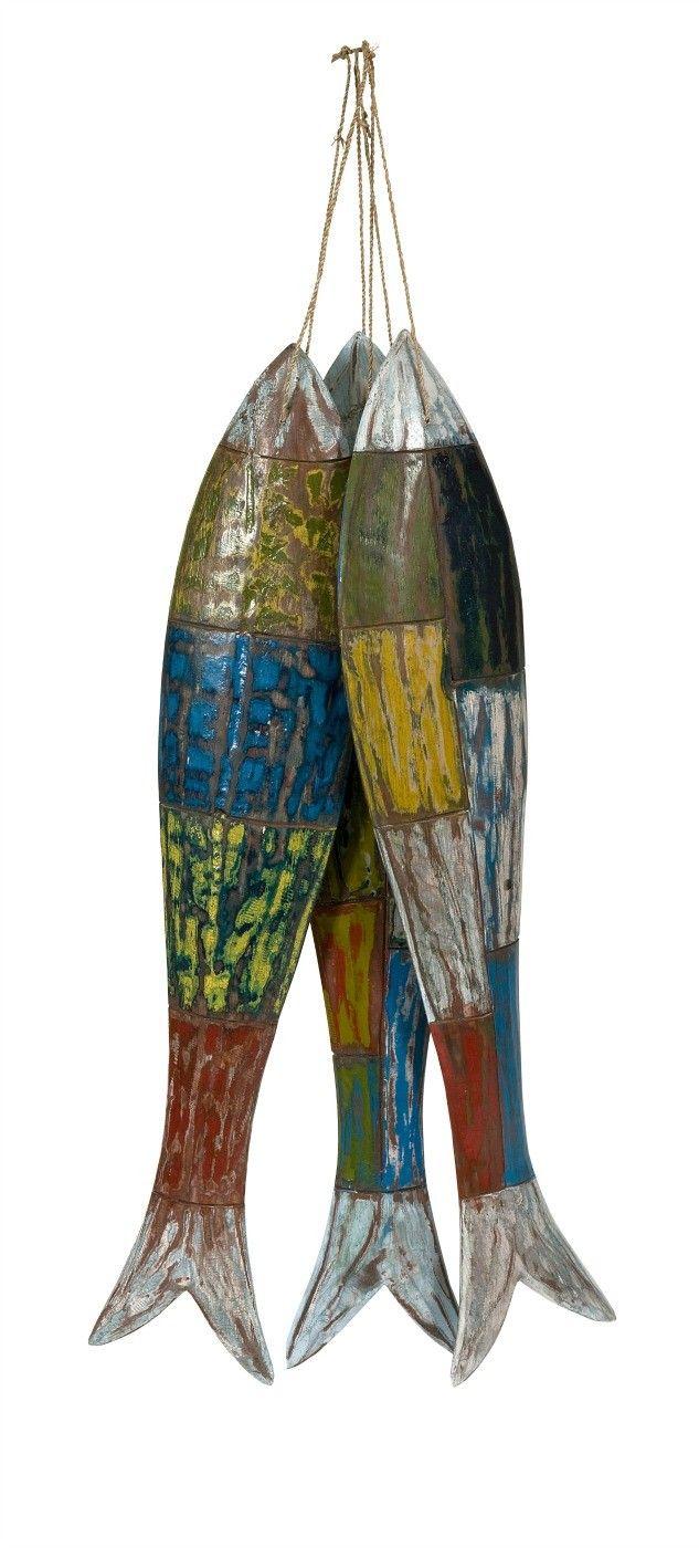 Hasina Wood Carved Fish - Set of 3