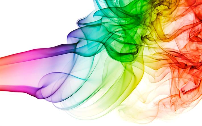 Smoke rainbow. Download wallpapers colorful k