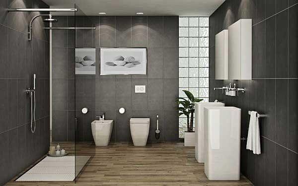 Modern Bathroom Design Ideas Grey Tiles Wood Flooring White Sinks