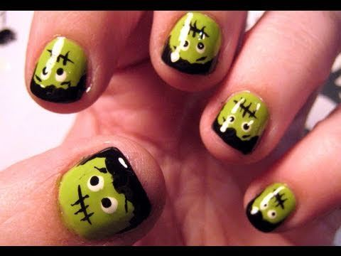 How to Create adorable Frankenstein face nails for Halloween « Nails &  Manicure - DIY Halloween Nail Art (VIDEOS) Tutorials, Manicure And Makeup