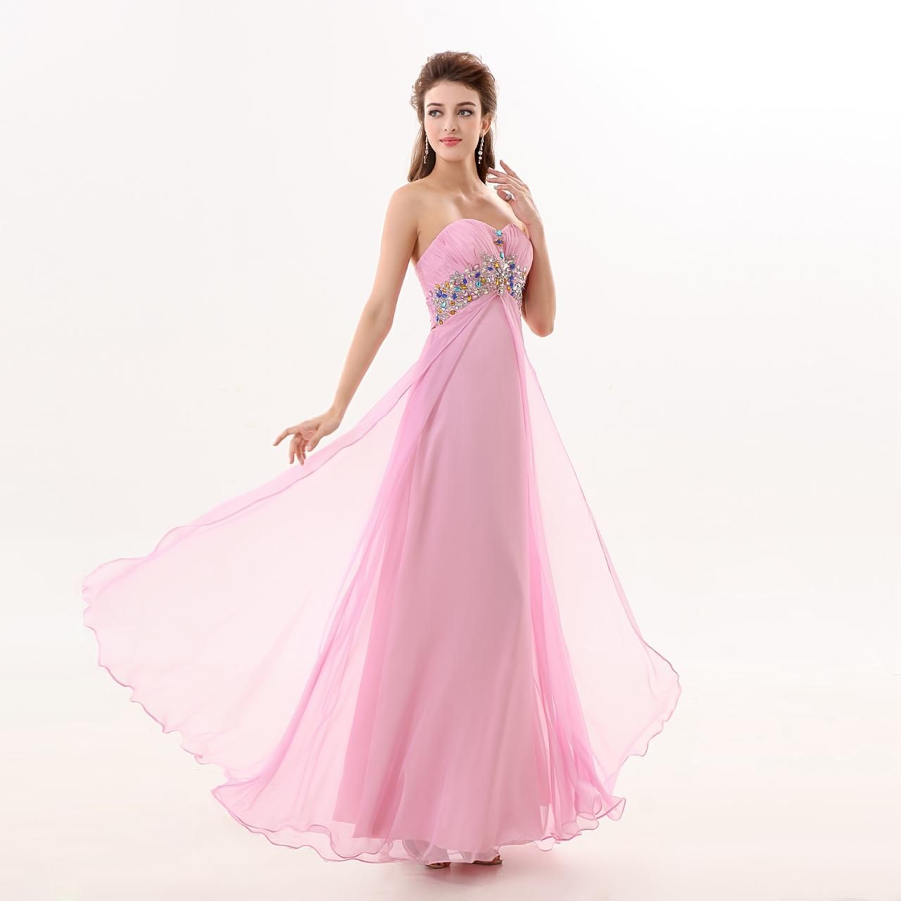 Pretty Chiffon Pink Backless A Line Prom Gowns, Pink Sweetheart ...