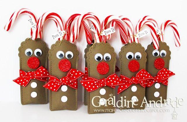 Tarjetas de navidad de Rodolfo El Reno, acompañadas de bastones para dulficar a quien se la regales. #CaramelosNavidad