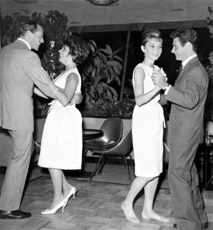 a500ede82791 Elizabeth Taylor dancing with Mel Ferrer while Eddie Fisher dances with Audrey  Hepburn at the Desert Inn in Las Vegas