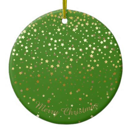 #Petite Golden Stars Christmas Ornament-Emerald Ceramic Ornament - #Xmas #ChristmasEve Christmas Eve #Christmas #merry #xmas #family #kids #gifts #holidays #Santa