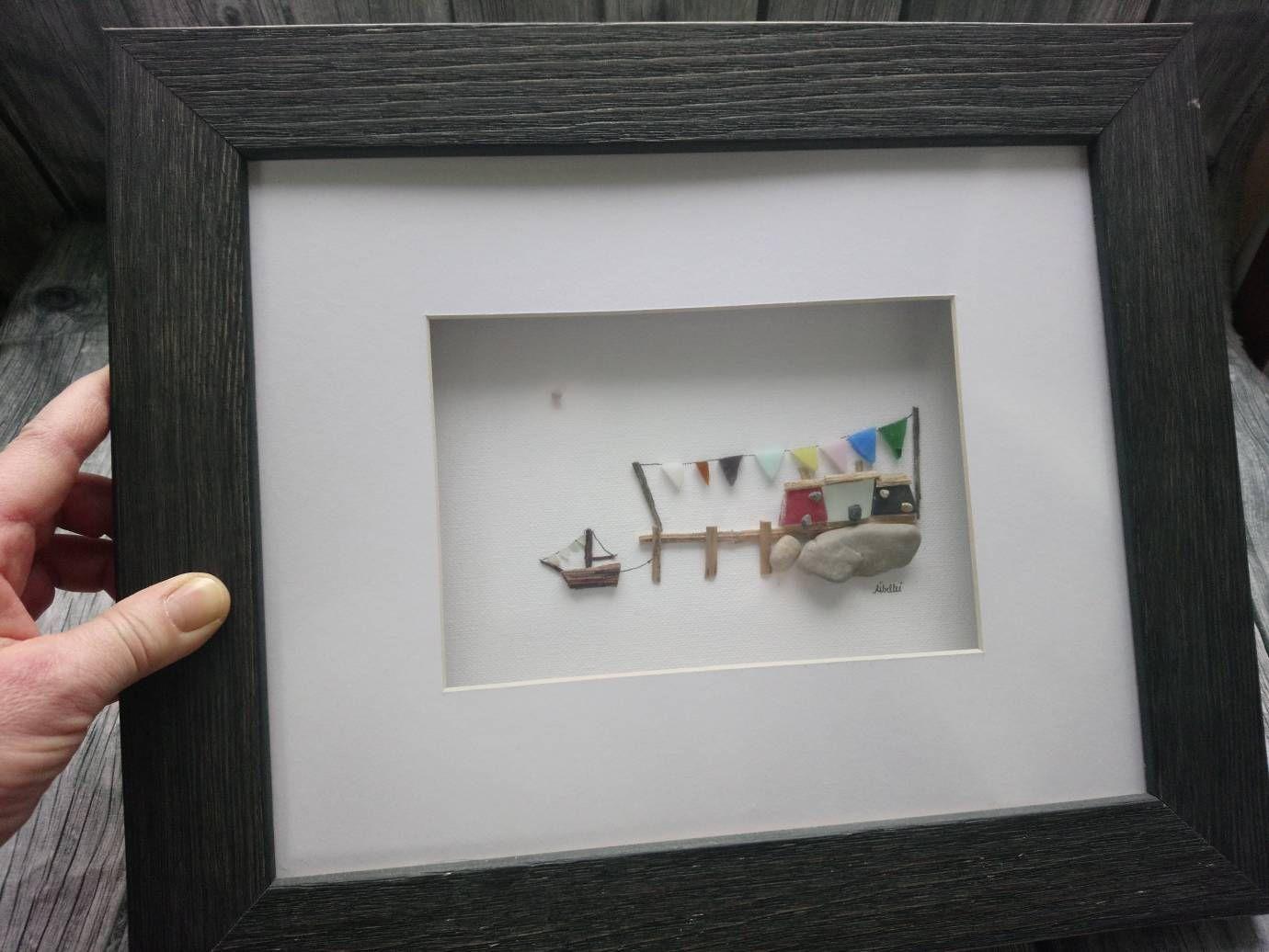 24x30 Cm Original Libellei Kieselsteinkunst Pebble Art Sea Glass Art Rock Crafts