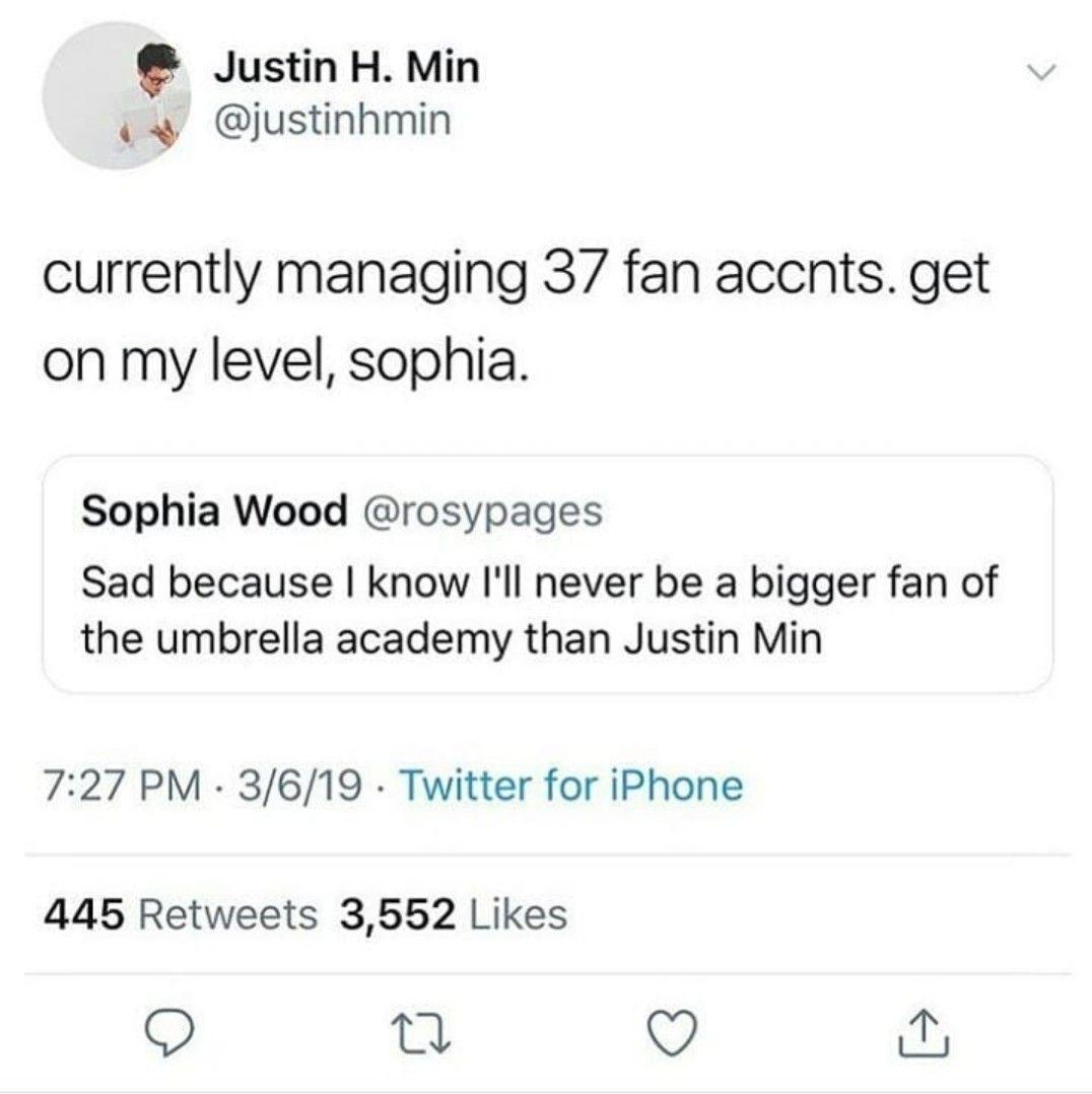 I Love It When He Tweets About Umbrella Academy He S My Favorite Character Umbrella Funny Umbrella Academy