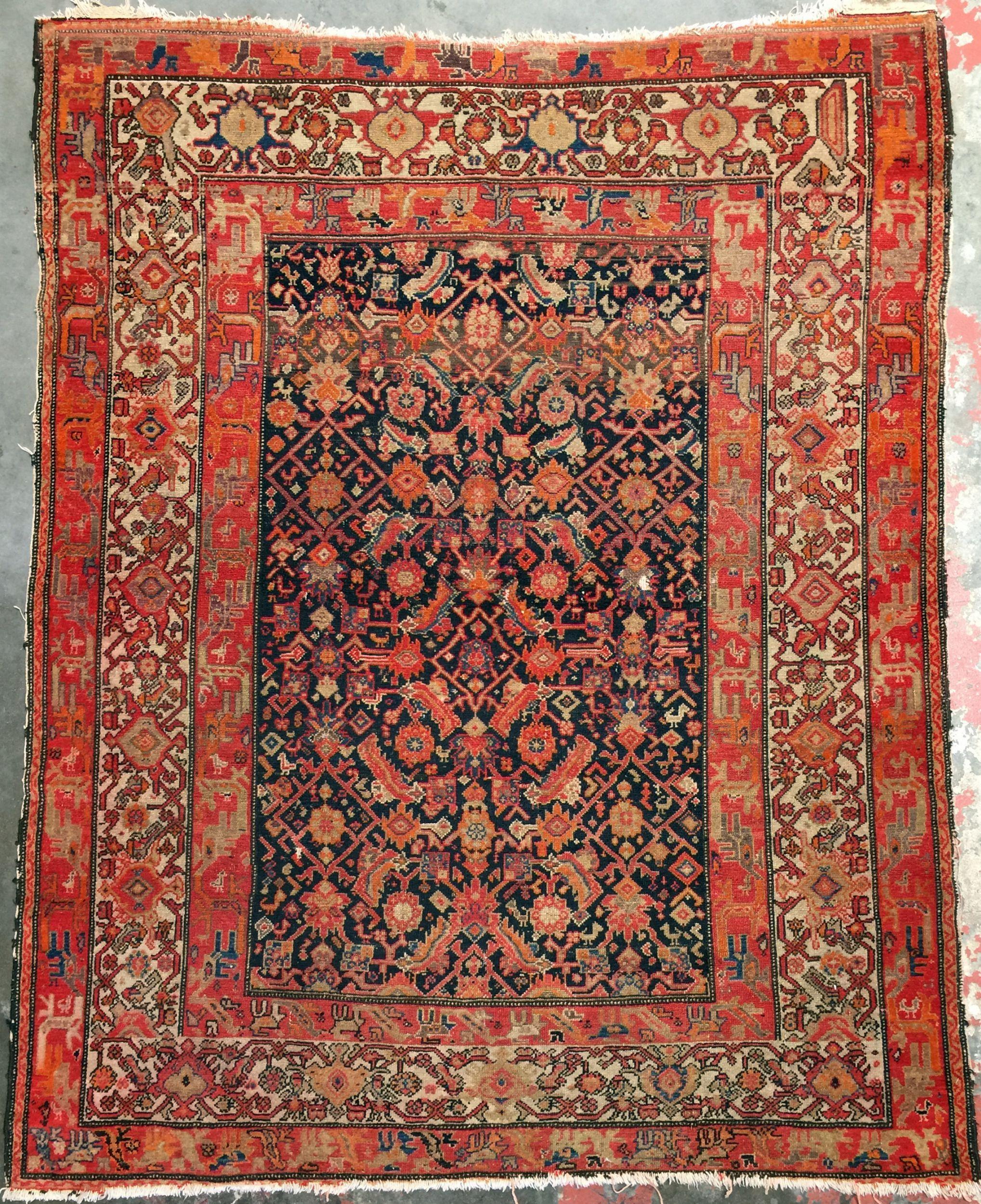 Vintage Persian Malayer Rug 5x6 Worn Rug Rugs On Carpet Persian Malayer Rug Textured Carpet