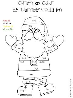 santa color by number Holiday Themed Teaching Activities