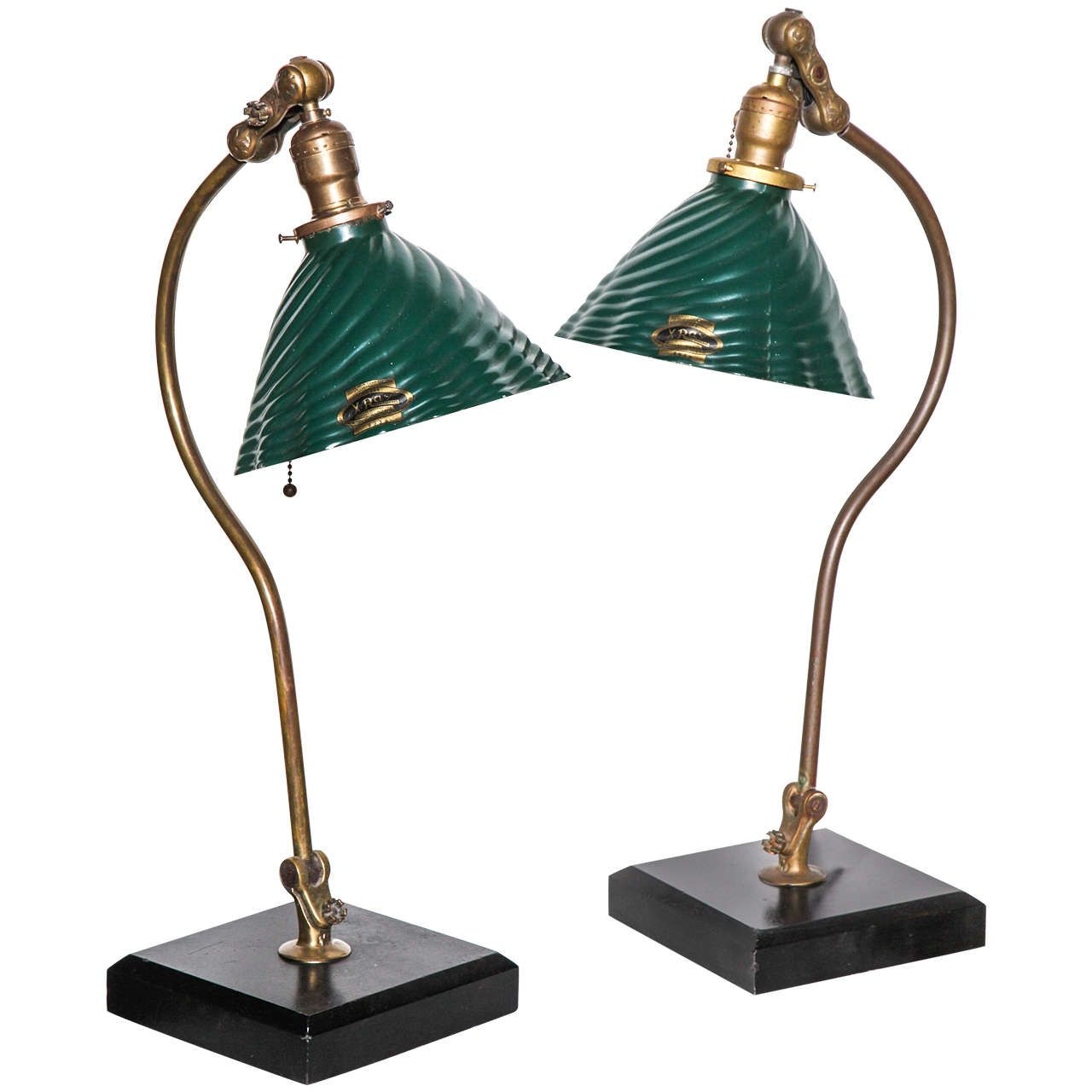 Pair Of O. C. White Brass, Slate And Glass Articulating Table Lamps, Circa  1890