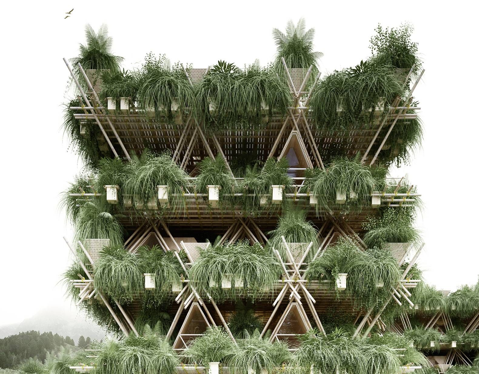 Bamboo structure the bamboo structure is suited - Penda Unveils Its Vision For A 20 000 Person City Constructed Entirely From Bamboo