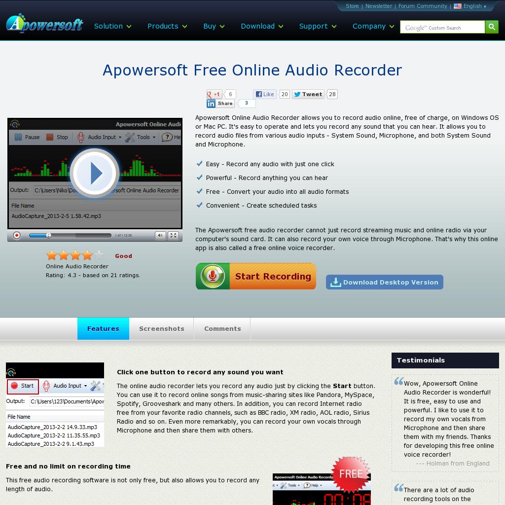 Free Online Audio Recorder Oneclick to record audio