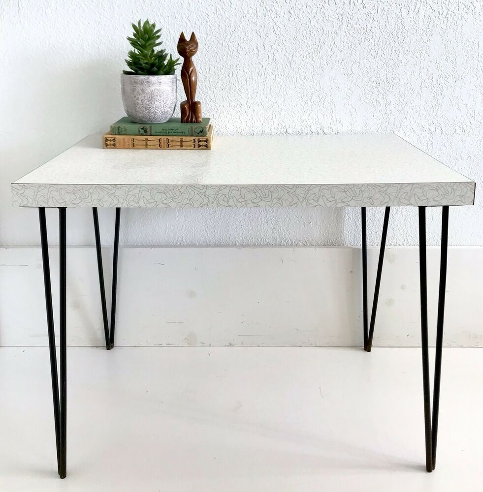 Vintage Mid Century Mcm Table Atomic Formica White Boomerang Metal