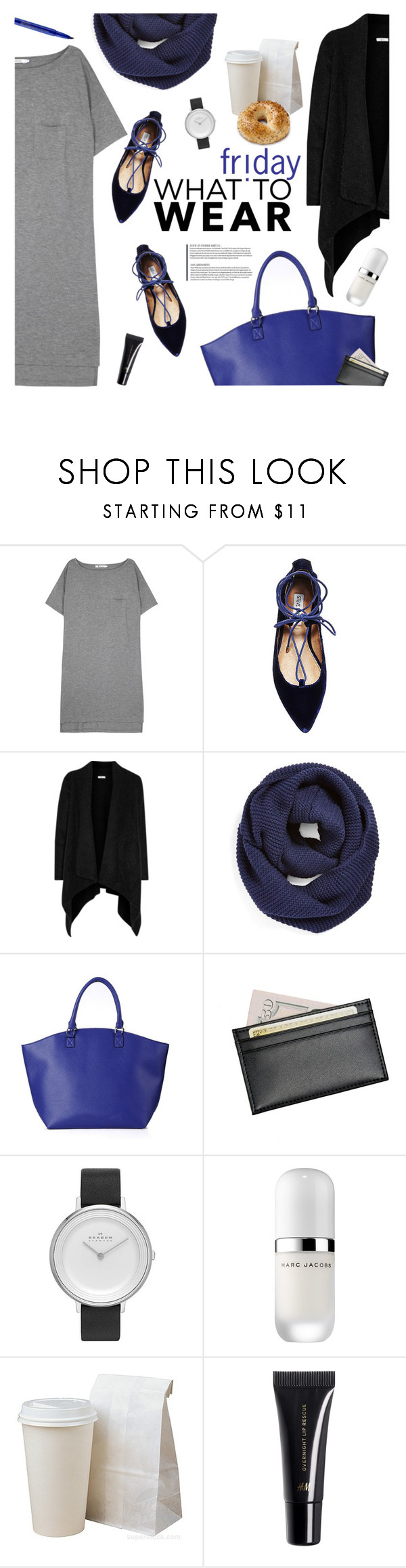 """Comfy and easy"" by magdafunk ❤ liked on Polyvore featuring T By Alexander Wang, Steve Madden, Joie, BP., Royce Leather, Skagen, Marc Jacobs, H&M and Smashbox"