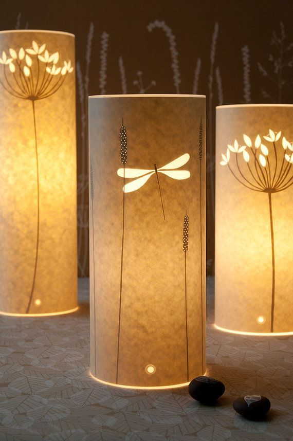 Small Nature Inspired Table Lamps Dragonfly Flowers Silhouettes By Hannahnunn On Etsy 105 00