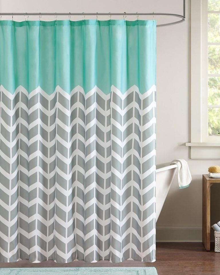 Chevron Aqua Shower Curtain Girls Shower Curtain Teal Bathroom