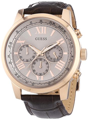 d402eb7847d Montre Guess Or - Quartz Chronographe - Cadran Acier inoxydable Doré -  Bracelet Cuir Marron - Date - W0380G4