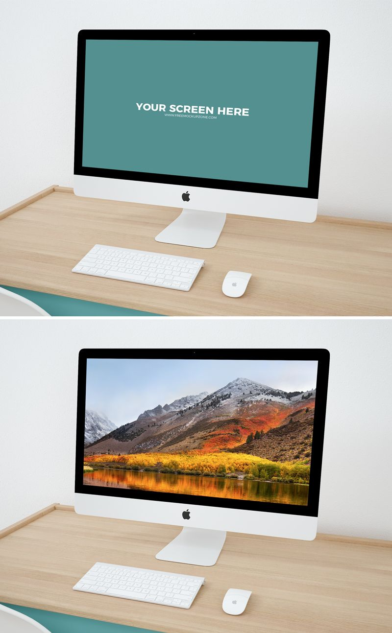 Today\'s freebie is a professional iMac Workspace Mockup PSD Template ...