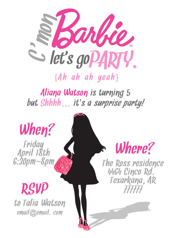 Simple Barbie Invitation printable PDF 5x7 by MissMurrayDesign, $15.00