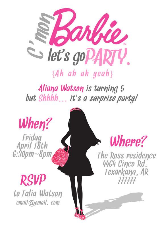 simple barbie invitation printable pdf 5x7 by missmurraydesign
