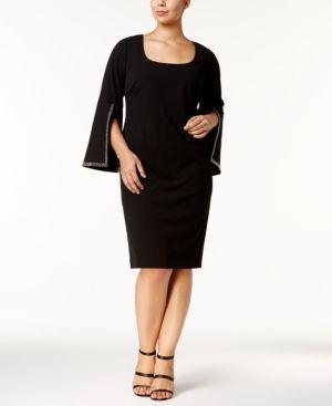 Calvin Klein Plus Size Embellished Split Sleeve Dress
