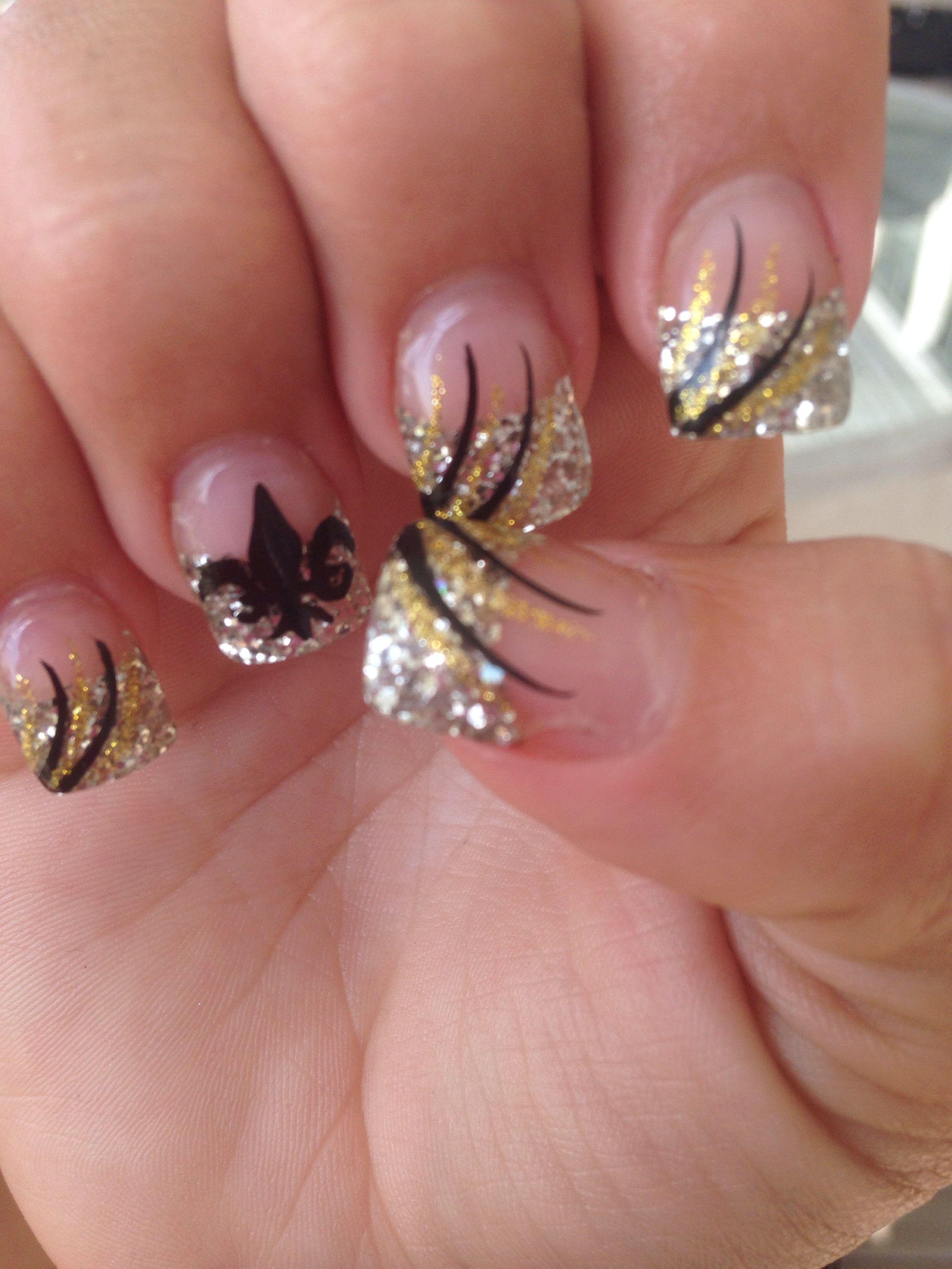 New Orleans Saints Acrylic Nails . Fleur de Lis | nail | Pinterest ...
