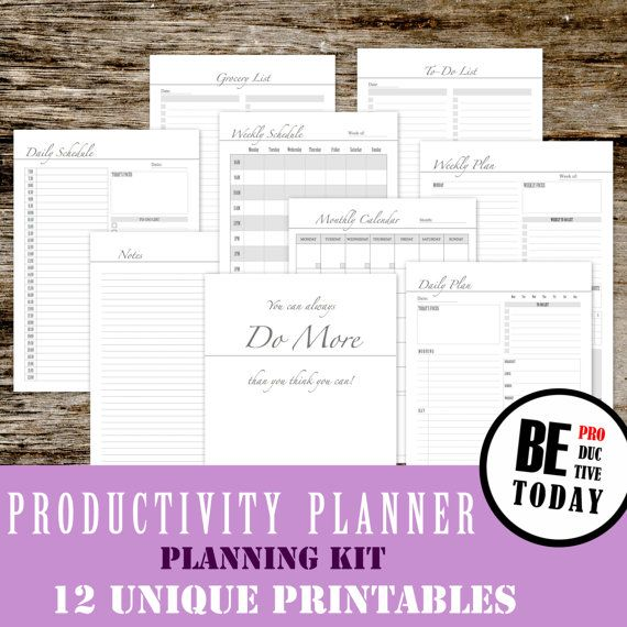 Productivity Planner Bundle, Daily Planner 2016, Printable