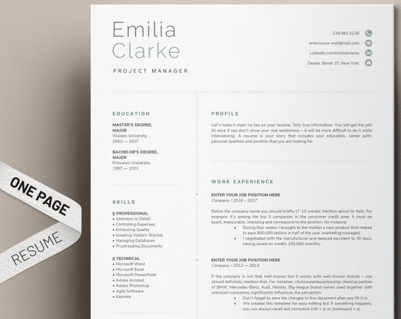 One Page Resume Template For Word Simple Resume Templates Clean Resume Cv Template Professio Resume Template Word One Page Resume One Page Resume Template