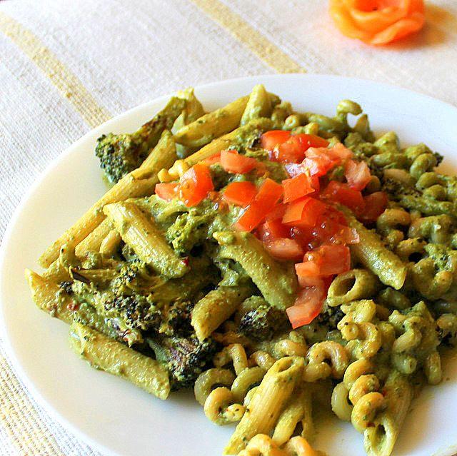 Penne with Basil Cashew pesto, Asparagus and Red Bell pepper!(Vegan) - Vegan Richa