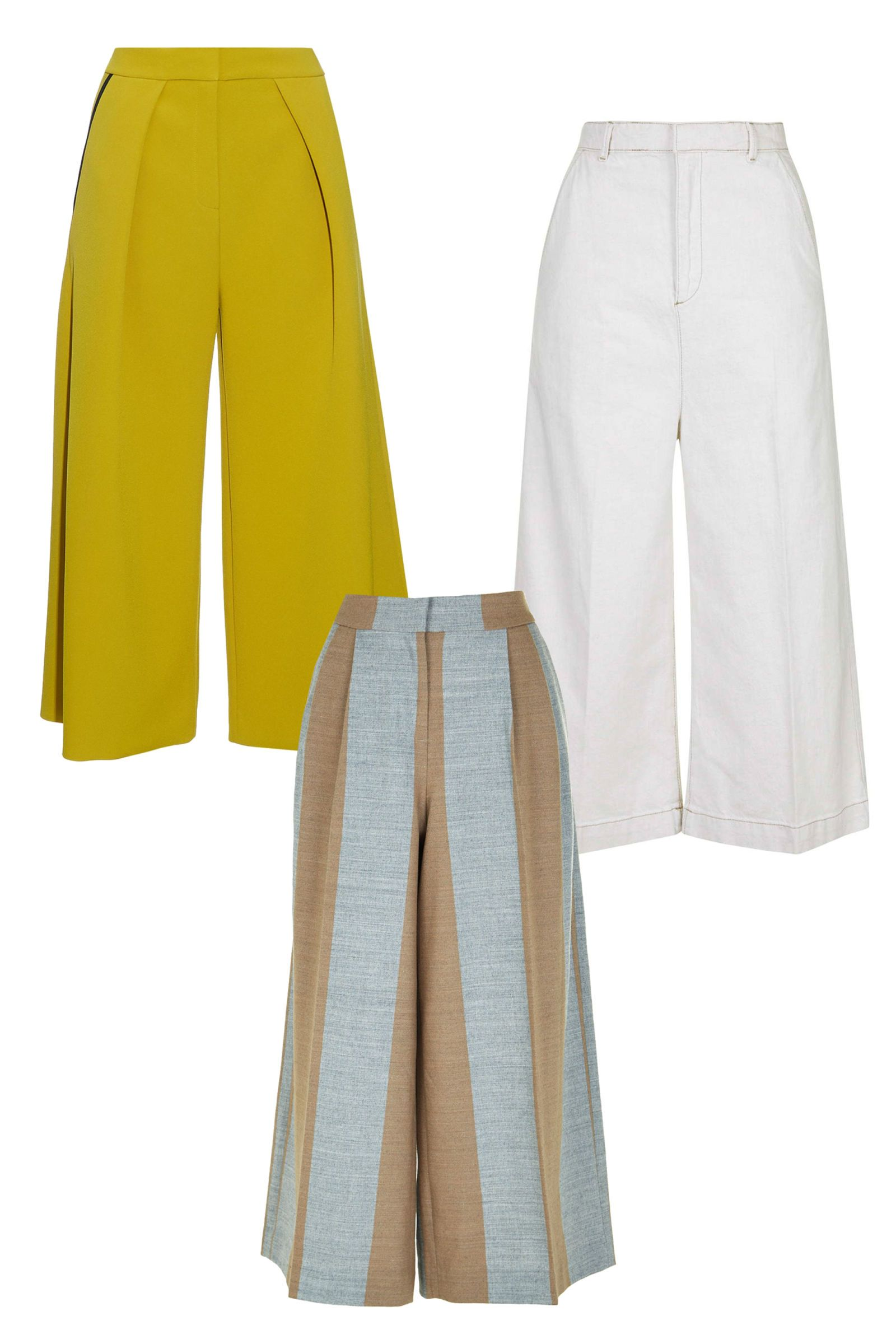 Culottes are the perfect silhouette for this First-World problem. The wide pant leg is airy enough to let your legs breathe, but there's enough material there to protect your goose bump–covered legs.   Roksanda Olive Deven Bonded Crepe Culottes, $1,025; matchesfashion.com  Tibi Horizon Stripe Edie Culottes, $495; tibi.com  Topshop Moto Straight Culottes, $70; topshop.com   - ELLE.com