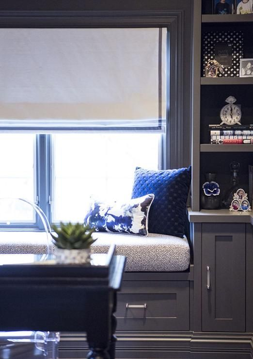 Stunning Office Features A Gray Built In Window Seat With Drawers Situated Under Window Dressed I Window Seat Home Office Design Bedroom Seating Area