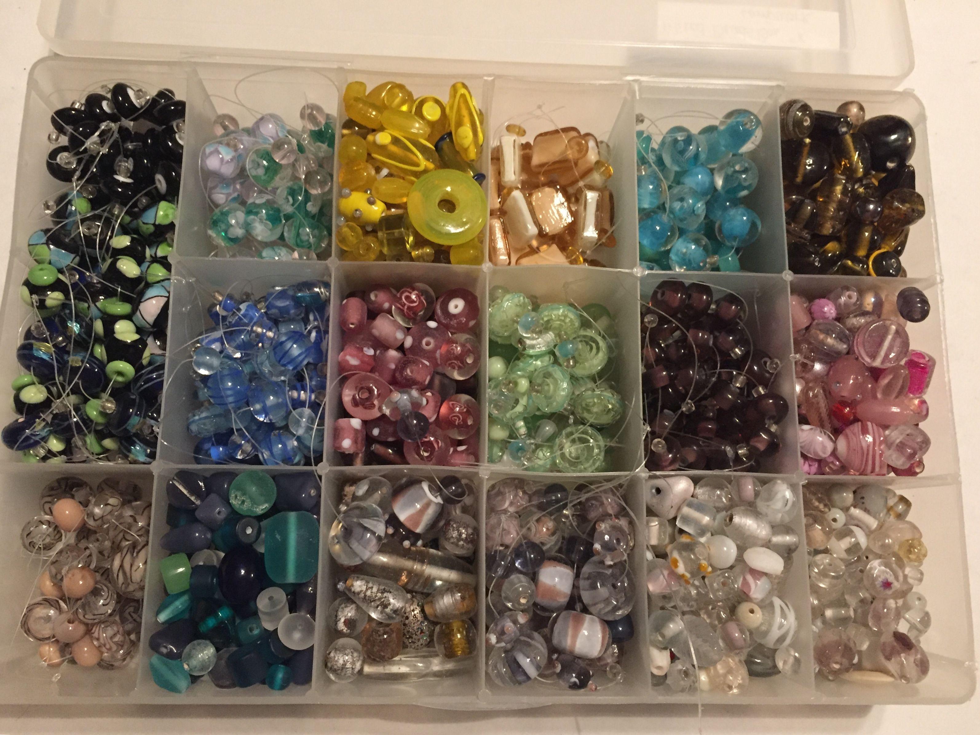Flower Beads Jewelry Making 1 lb Lampwork Glass Beads  Bulk Lot Blue DIY Craft