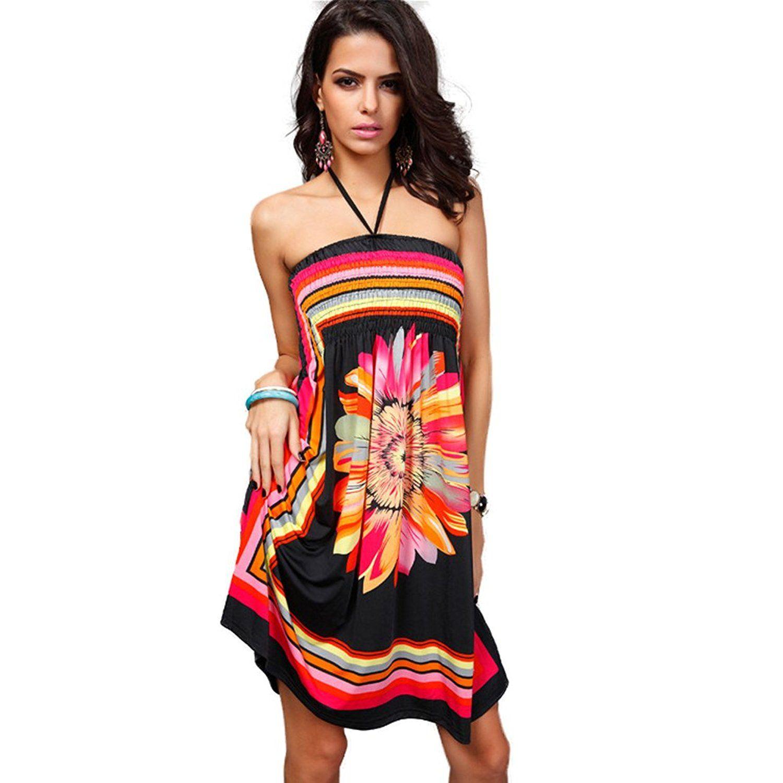 1b1d2dff38ff5 Katuo Floral Women's Knee Length Dress Beach Summer Dress Plus Size ...