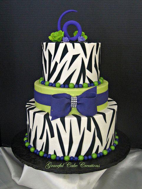 Lime Green Purple And Zebra Print Birthday Cake Zebra Print